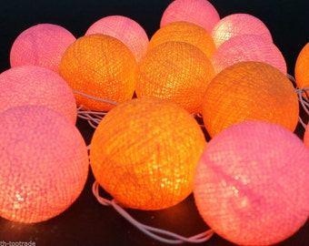 20 Lighting Orange-Pink Cotton Ball String Lights Party Lighting, Bedroom Decor