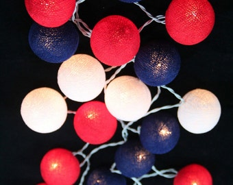 20 mixed DarkBlue Red White Cotton Ball String Lights Fairy lights Party