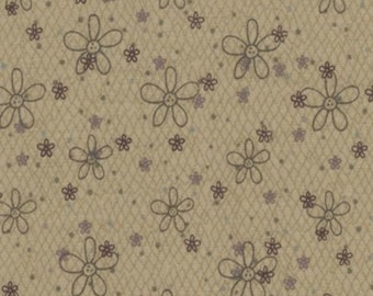 Half yard-Secret Garden by  Lynette Anderson - LECIEN - Daisy & Dots on Khaki