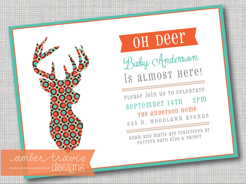 deer baby shower invitation antler baby by ambertravisdesigns