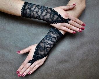Elegant GOTHIC VAMPIRE Victorian Burlesque Glamour short GLOVES black lace 2