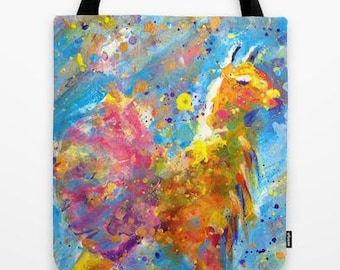 yellow llama in pink tutu tote bag with original artwork printed on both sides