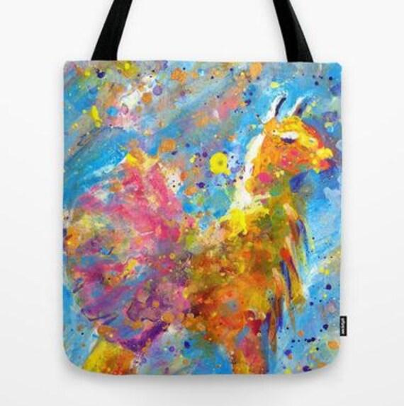 Yellow Llama in Pink Tutu Tote Bag with Original Artwork printed on both sides
