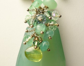 Chalcedony Faceted Focal, Chyrsoprase, Peridot, Opal, Swarovski Crystal Wire Wrapped Necklace. Gold Filled, Vermeil. Aqua, Green, Crystal.