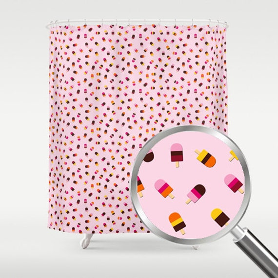 Items similar to pink popsicles shower curtain kids for Purple and yellow bathroom accessories