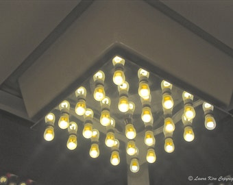 Chandelier photo, Abstract Photo, Light Photo, Abstract Art, Home Decor, Chandelier Art, Grey White Yellow