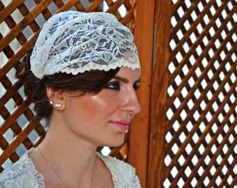 Handmade Bridal Head Piece Stripped Rhinestone Crystal Juliet Cap Bridal Il