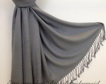 GRAY PASHMINA - gray shawl - bridal scarf - bridal shawl - bridesmaid gift - wedding gift - scarf - shawl - gift -