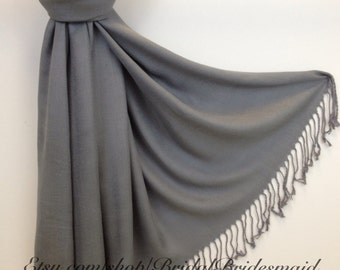 GRAY PASHMINA - gray shawl - grey pashmina - grey shawl - grey wrap bridesmaid - grey scarf wedding - scarf grey - shawl grey - grey sarong