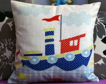 Cartoon Boat  pillow,nautical boat pillow cover,Ship pillow cover
