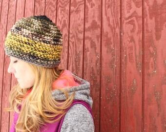 Crochet beanie, earthy camo and yellow