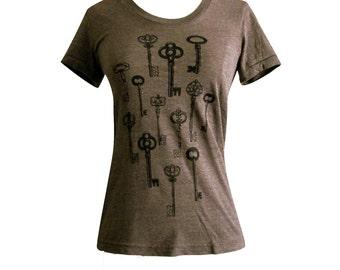 Skeleton Key T-Shirt - Antique Keys  ladies Tri-blend shirt - (Available in sizes S, M, L, XL)