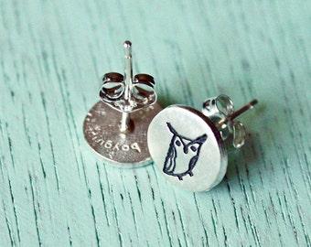 Tiny OWL Earrings Studs, Owl Stud Earrings, Sterling Silver Cute Owl Stud Earrings for Girls, Etsy Owl Earrings, Etsy Owl Stud Earrings
