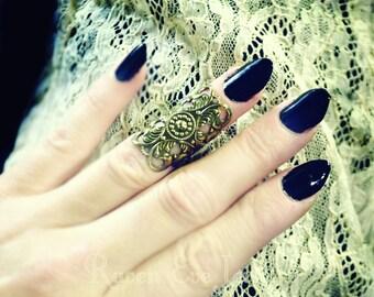 Knuckle Ring Midi Ring Gothic Filigree Antique Gold Tone
