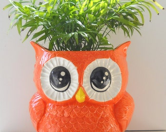 Ceramic X-Large Owl Planter Vintage Design in Orange Palm Flower Herb Planter Great Owl Lover Gift Utensil Holder
