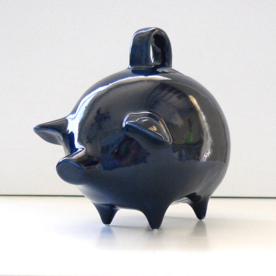 Mexican Piggy Bank Vintage Design In Navy Blue Great First Birthday Baby Shower Gift