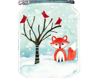 Original Winter Wonderland Watercolour Painting Winter Woodland Artwork
