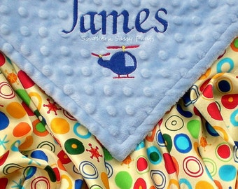 Personalized Satin Baby Boy Blanket - Helicopter Embroidery , 36x40 - Other Embroidery Options Available