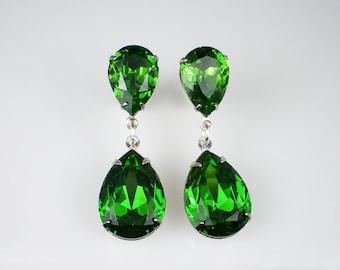 3 Pairs of Rhinestone Earrings Fern Green Swarovski Dangle Earrings Wedding Jewelry Bridesmaid Jewelry MADE TO ORDER