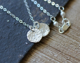 MOM Necklace, Two Initials, STERLING SILVER Initial Necklace, Custom Letter, Dainty, Small, Hand Stamped, Two Children, Hammered Disc, Simpl