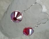 Wirewrapped Light Siam AB Vintage Swarovski Crystal Ajna Earrings