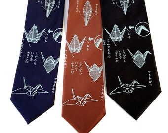 Origami necktie. Paper crane print tie. Men's silkscreen necktie. Your choice of colors. Light sky print. Choose standard or narrow width.