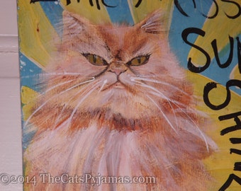 Grumpy Persian Cat Painting Little Miss Sunshine colorful folk art painting