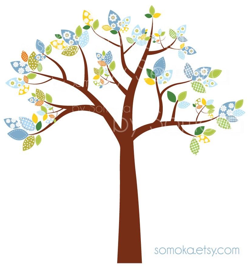 Nursery Baby Boy Cute Bird And Tree Clipart Set