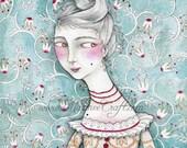 "18th century folk art print, ""Lady Violet's Disguise"""