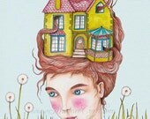 "Victorian house girl art print - ""Our House"""