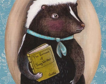 "Skunk art print, ""Mr. Skunk Homebody"""