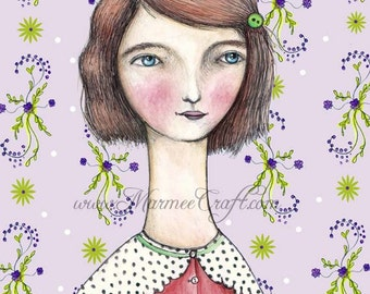"Blushing girl art print, ""Marla's New Wallpaper"""