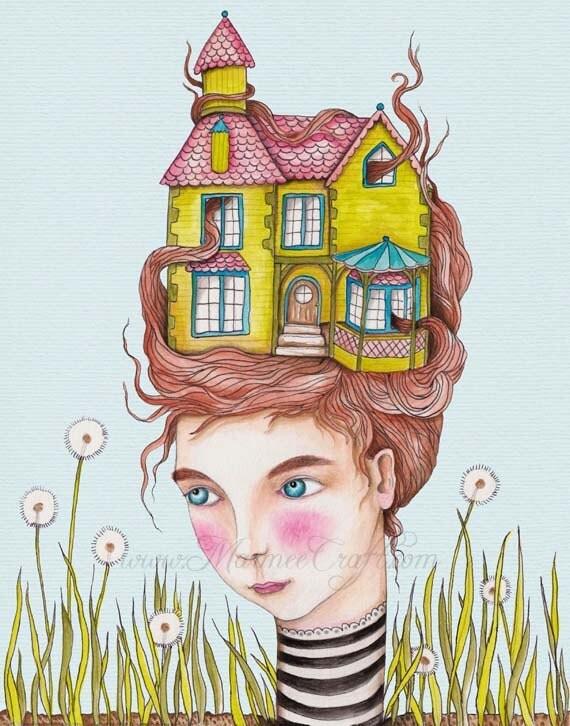 "Victorian house girl art print - ""Our House"""