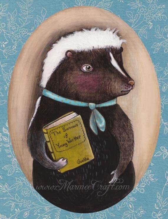 """Skunk art print, """"Mr. Skunk Homebody"""""""