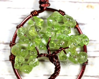 Peridot Tree of Life Pendant Brown Wire Spring Green Gemstone Necklace Birthstone Jewelry Wire Wrapped Handmade Banyan Tree Oak Tree Artisan