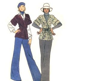 70s Wrap Front Sweater pattern and Bell Bottoms vintage 34-26.5-36 SALE