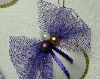 Christmas Decoration, SEASHELL ORNAMENTS, Natural Seashell Ornaments, Nautical Christmas Decorations in Purple Set of 2, Christmas Ornaments