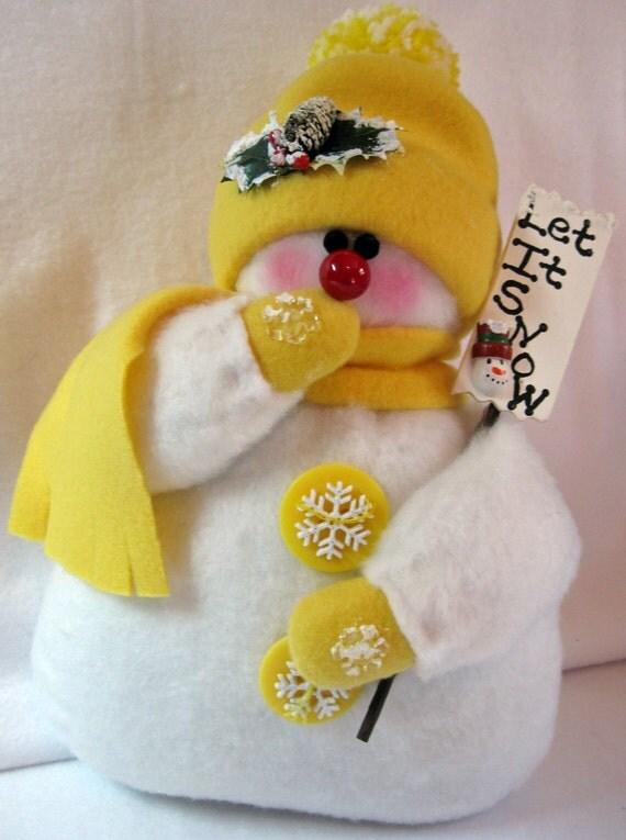Decoration christmas ornament stuffed snowman fleece snowman