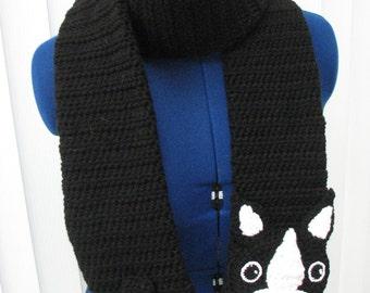 Crochet Pattern - Boston Terrier Scarf Pattern - Women's Scarves - Dog Theme Gifts - Men's Scarf - Animal Scarf - Crochet Scarf - PDF