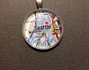 Seattle Washington Map Glass Pendant Necklace - Vintage Map Jewelry - Map of Seattle Jewelry -