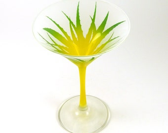 Wild Agave Martini Glass - Frosted and Painted Glassware - Custom Made to Order