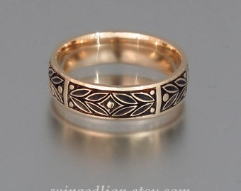 EVERGREEN LAUREL mens wedding band 14k rose gold unisex ring