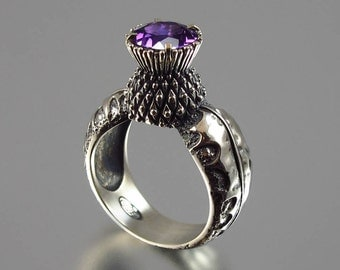 BLOOMING THISTLE silver ring with Amethyst