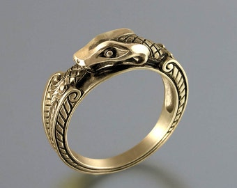 OUROBOROS 14K yellow gold mens Snake unisex ring