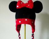 Minnie Mouse Crochet Hat in Black and Red with Ears and Braids for Halloween Costume - Cartoon Hat