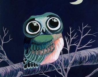 Little Owl art print - gouache reproduction