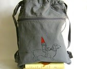 Dachshund and Gnome Back Pack-Cinch Sack-Screen Printed Cotton Canvas, Back to School, Day bag, Viva Sweet Love