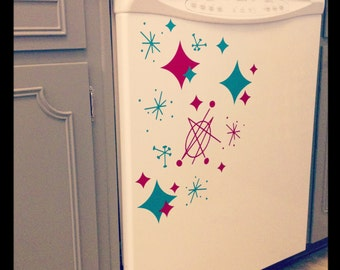 Appliance Decals in Atomic Retro Designs in Red/Turquoise Blue or Pink/Black. Great for the Retro Kitchen