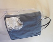 large fabric tote - gray cotton canvas tote with vintage lace embellishment and leather handles - alene lace tote