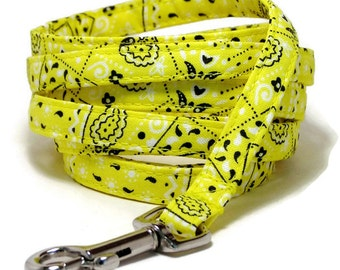 "XS Leash - Yellow Bandana - 3/8"" wide - 4 or 6 Feet long for Cats and Small Dogs"